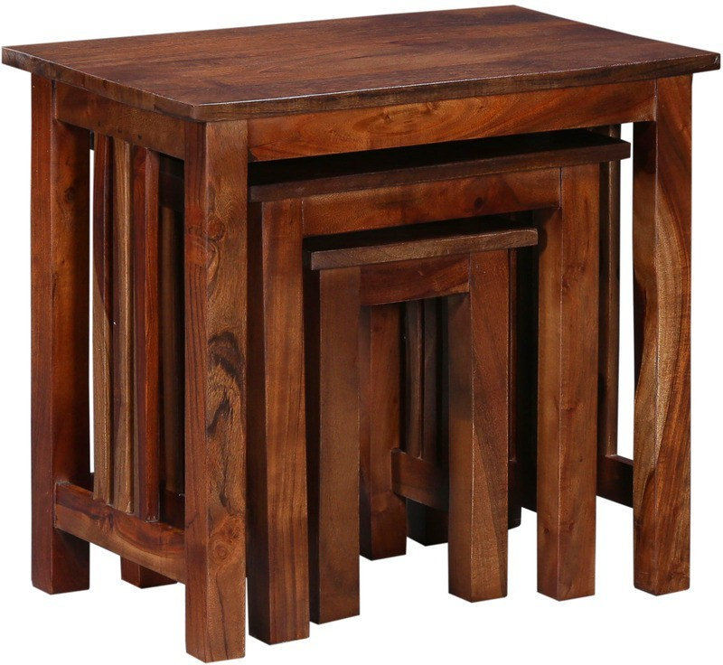 Ringabell Cubby Solid Wood Nesting Table(Finish Color - Honey Oak, Set of - 3)