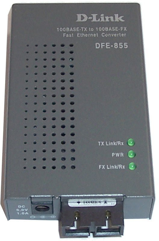 D-Link DFE-855MI media converter converts 10/100BASE-TX Ethernet twisted pair signals to fiber signals Maximum fiber cable distance for multi-mode is 2kms Network Switch(Grey) image