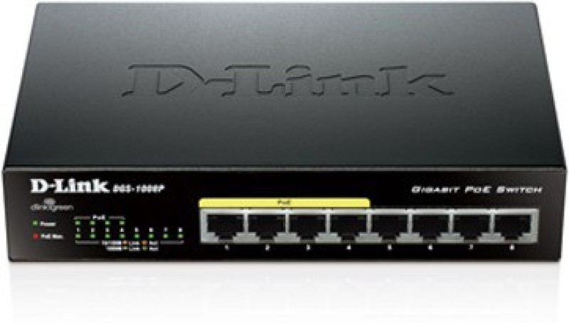 D-Link DGS 1008P Eight 10/100/1000 Mbps Gigabit Ports Network Switch(Black)