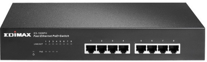 Edimax 8-Port Fast Ethernet Switch With 4 PoE+- Network Switch(Black) image