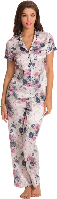 PrettySecrets Women Floral Print White Top & Pyjama Set