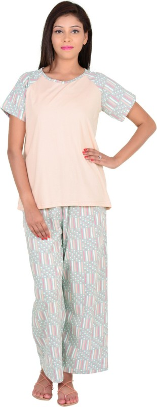 9teen Again Women Printed Beige Top & Pyjama Set