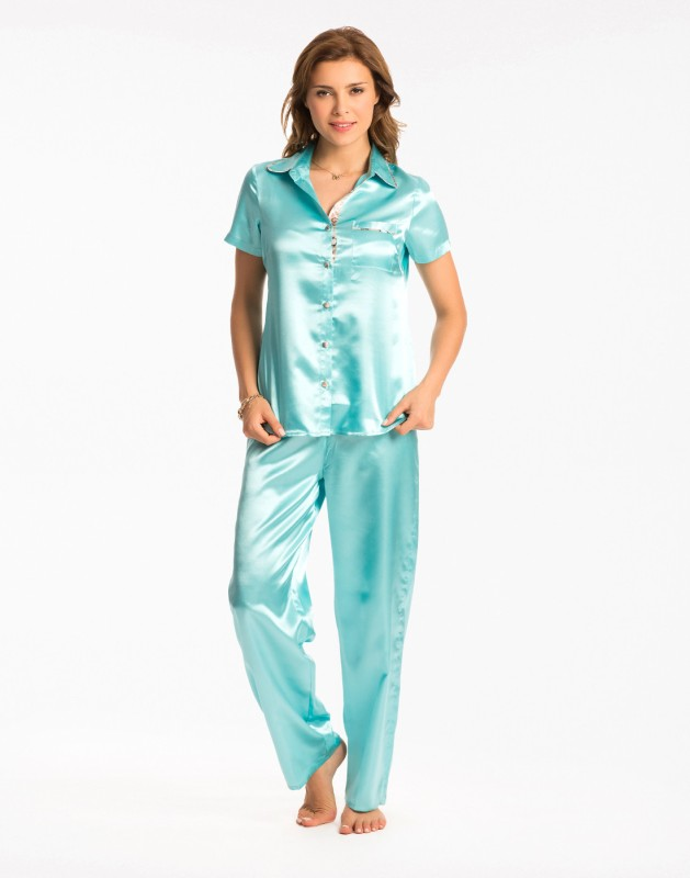 PrettySecrets Women Solid Blue Top & Pyjama Set