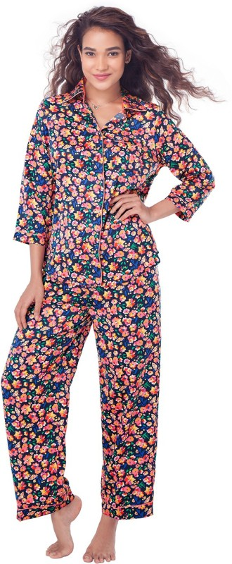PrettySecrets Women Floral Print Blue Top & Pyjama Set