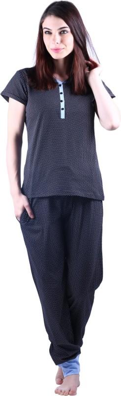 Vixenwrap Women Polka Print Black Top & Pyjama Set