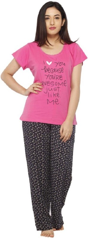 Vixenwrap Women Printed Multicolor Top & Pyjama Set