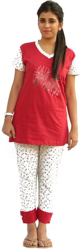 Vixenwrap Women Printed Red, White Top & Capri Set
