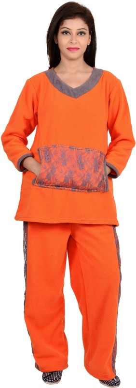 9teen Again Women Solid Orange Top & Pyjama Set