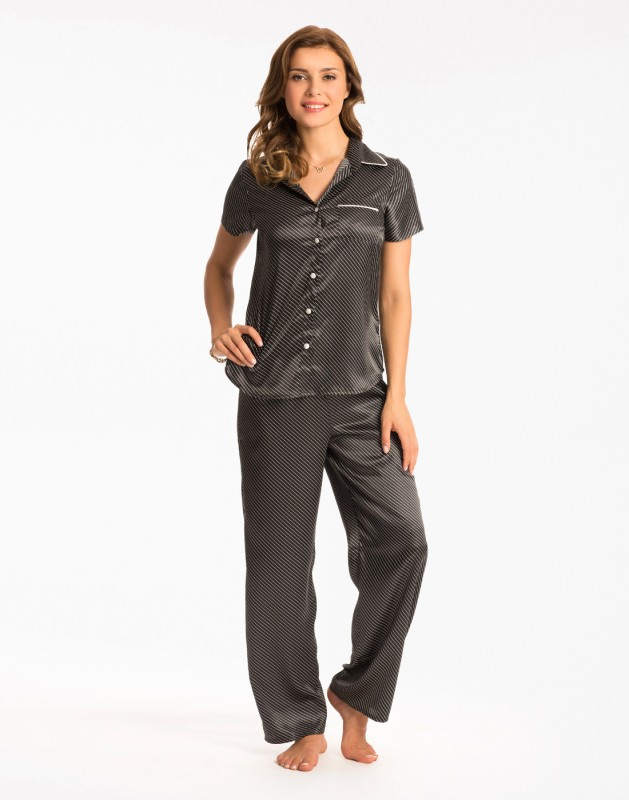 PrettySecrets Women Striped Black Top & Pyjama Set