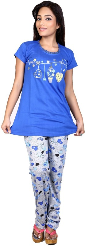 Ruok Women Printed Blue Top & Pyjama Set
