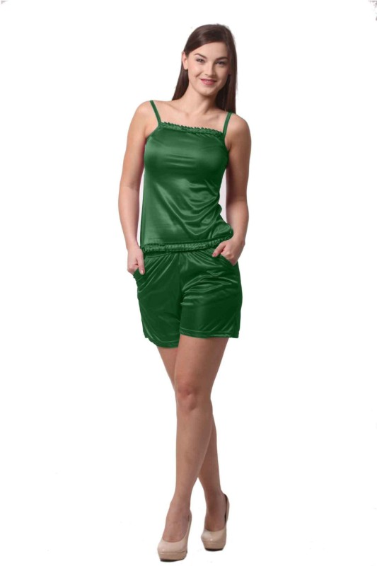 Being Fab Women's Solid Green Top & Shorts Set