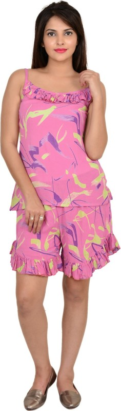 9teen Again Women Printed Pink Top & Shorts Set
