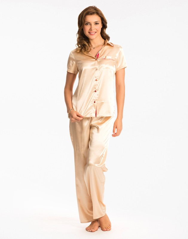 PrettySecrets Women Solid Beige Top & Pyjama Set