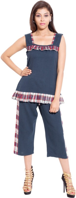 Forever 9teen Women's Solid Blue Top & Capri Set