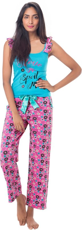 PrettySecrets Women Printed Blue, Pink Top & Pyjama Set