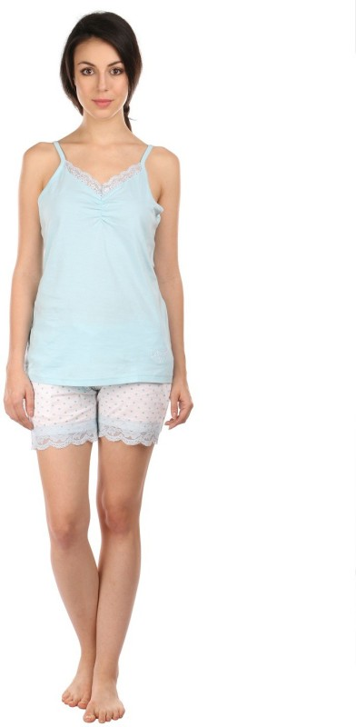 Semantic Women Printed Blue Top & Shorts Set