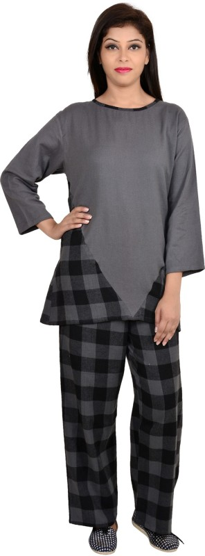 9teen Again Women Checkered Grey Top & Pyjama Set