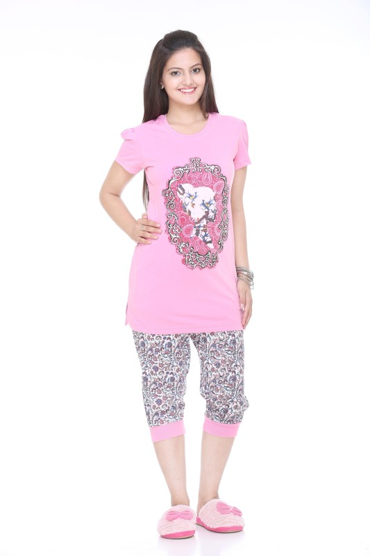 Colors & Blends Capri Women Printed Pink Top & Capri Set