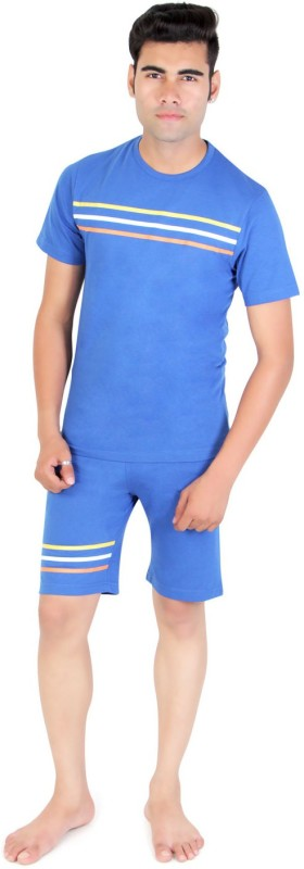 Bongio Men's Solid Blue Top & Shorts Set