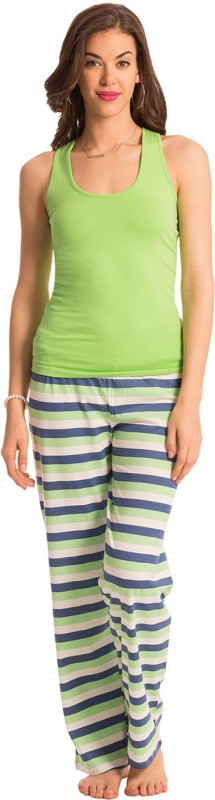 PrettySecrets Women Striped Green, Blue Top & Pyjama Set