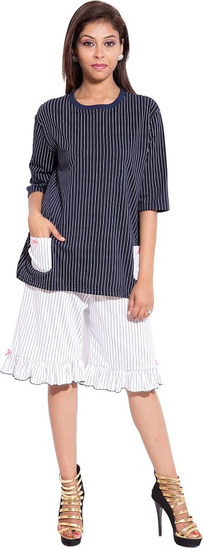 Forever 9teen Women's Striped Blue, White Top & Capri Set