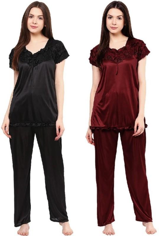 Boosah Women's Solid Black, Brown Top & Pyjama Set