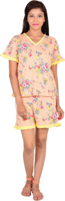 9teen Again Women Printed Orange Top & Shorts Set
