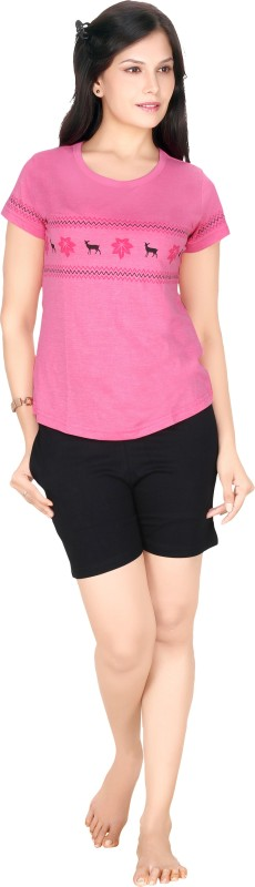 Red Ring Women Self Design Pink Top & Shorts Set
