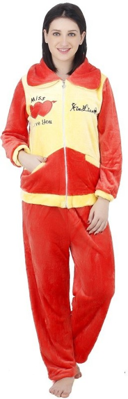 Camey Women Solid Red Top & Pyjama Set