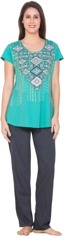 Brightline Women Printed Blue, Grey Top & Pyjama Set