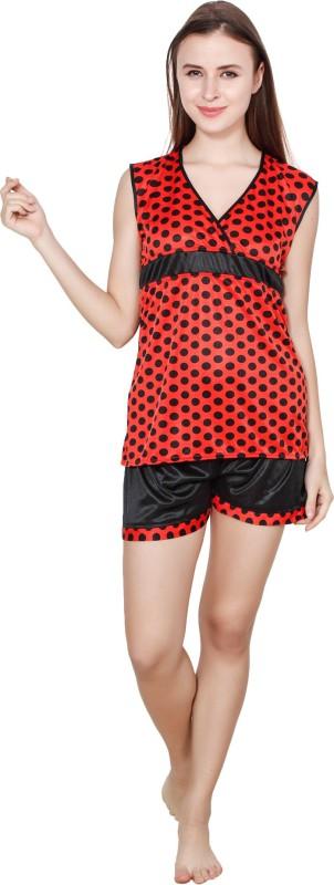 Kismat Fashion Women Printed Red Top & Shorts Set