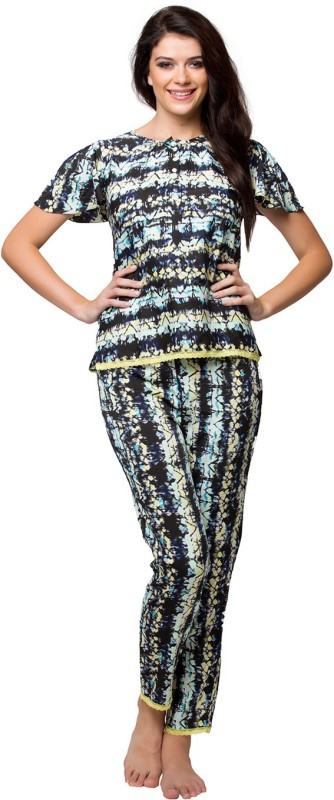 Clovia Women Printed Black Top & Pyjama Set