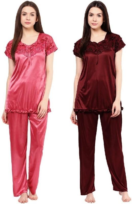 Boosah Women's Solid Pink, Brown Top & Pyjama Set