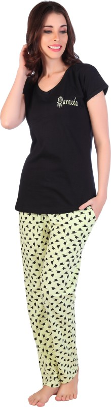DE'MODA Women Printed Black, Yellow Top & Pyjama Set