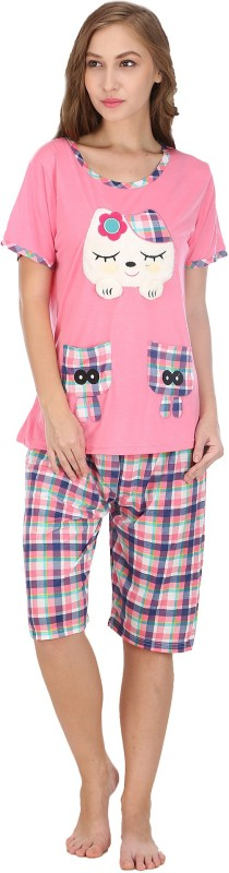 Icable Women's Applique Pink Top & Capri Set