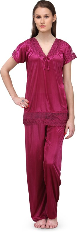 Fashigo Women Self Design Pink Top & Pyjama Set