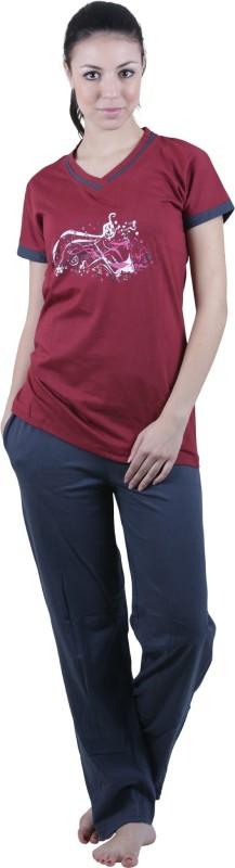 Vixenwrap Women Printed Red Top & Pyjama Set