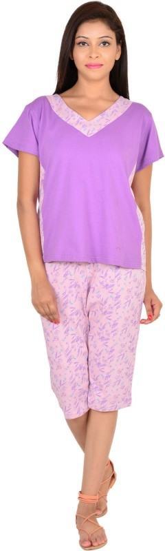 9teen Again Women Printed Purple Top & Capri Set