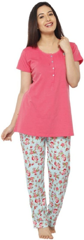 Vixenwrap Women Floral Print Multicolor Top & Pyjama Set