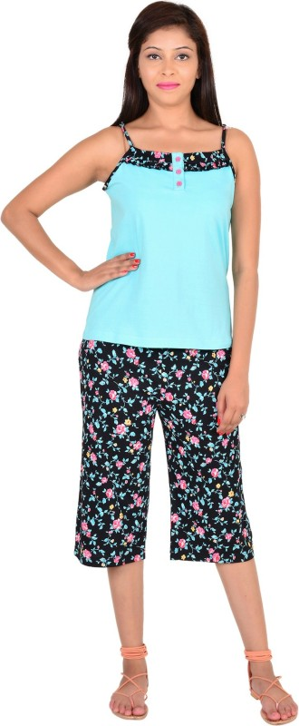 9teen Again Women Printed Light Green Top & Capri Set