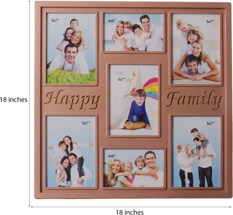 eCraftIndia Glass Photo Frame(Brown, 7 Photos)