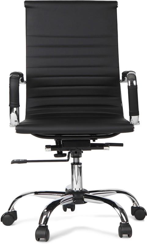 HomeTown Astra Medium Leatherette Office Arm Chair(Black)