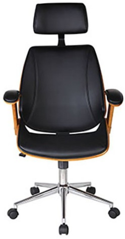 Urban Ladder Ray Executive Leatherette Office Arm Chair(Black)