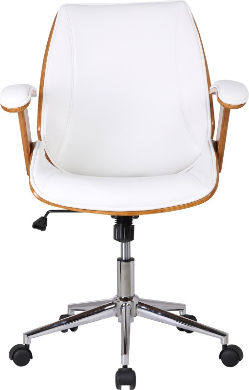 Urban Ladder Ray Leatherette Study Arm Chair(White)