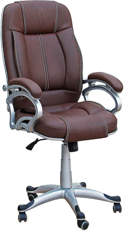 TimberTaste LILLY Leatherette Office Arm Chair(Brown)