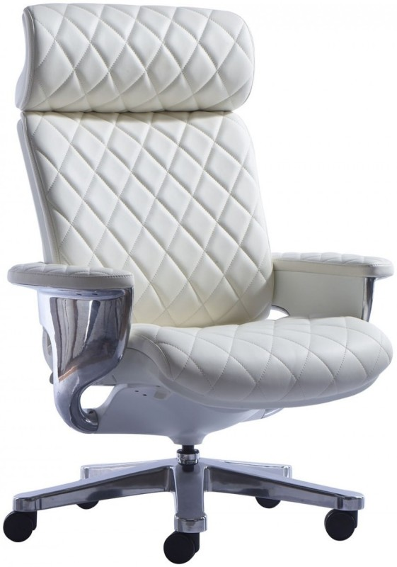 HOF Kenzo 551 Premium Leatherette Office Arm Chair(White)