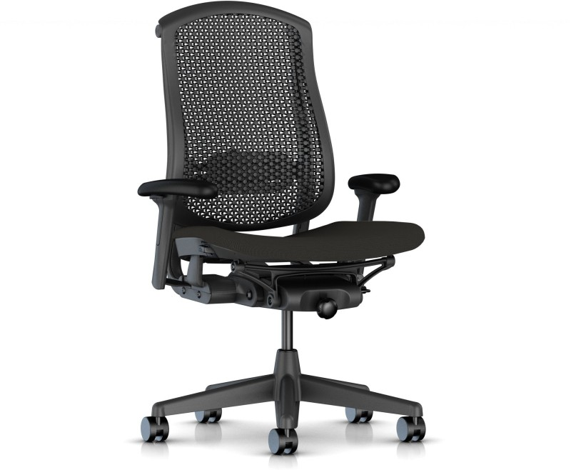 HermanMiller Celle - Graphite Cellular back with Graphite upholstered Seat Cushion : Cellular Suspension Synthetic Fiber Office Arm Chair(Black)