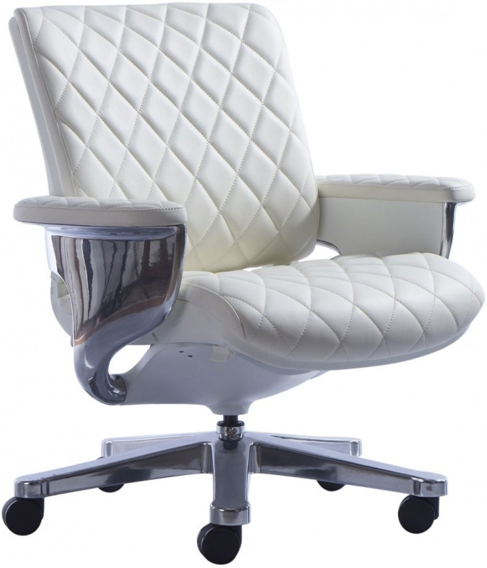 HOF KENZO 552 Premium Synthetic Fiber Office Arm Chair(White)