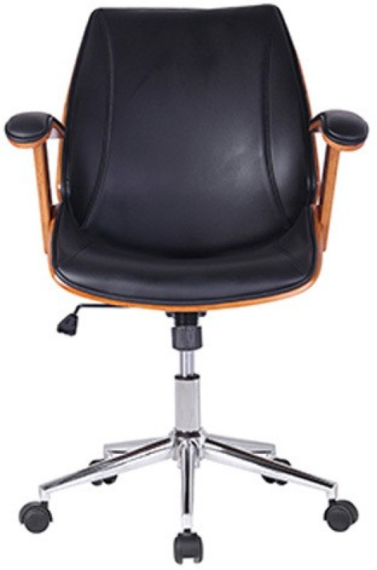 Urban Ladder Ray Leatherette Office Arm Chair(Black)