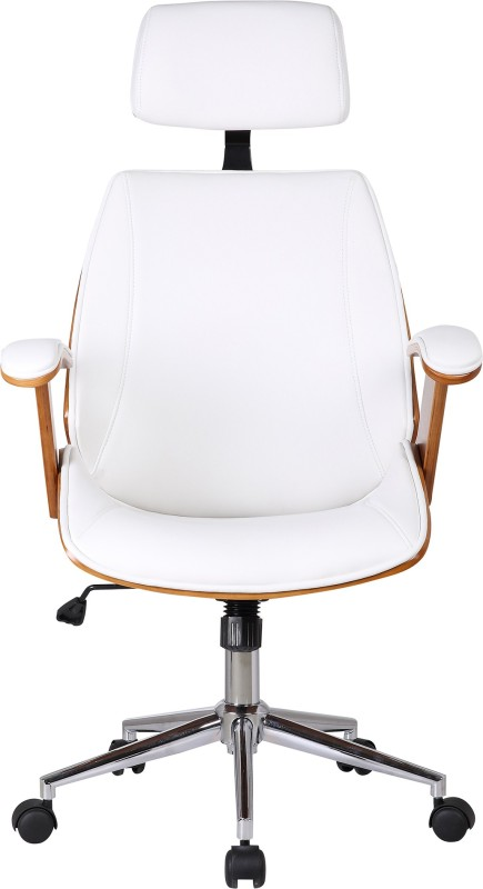 Urban Ladder Ray Executive Leatherette Office Arm Chair(White)